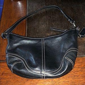 Coach mini black leather purse bag